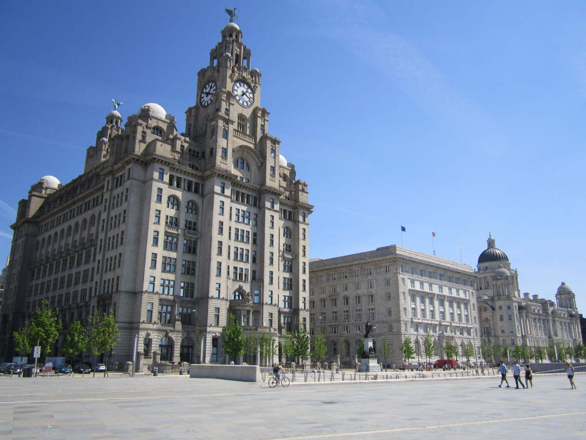 Liverpool's Three Graces, the Royal Liver Building, Cunard Building and Port of Liverpool Building at the Pier Head