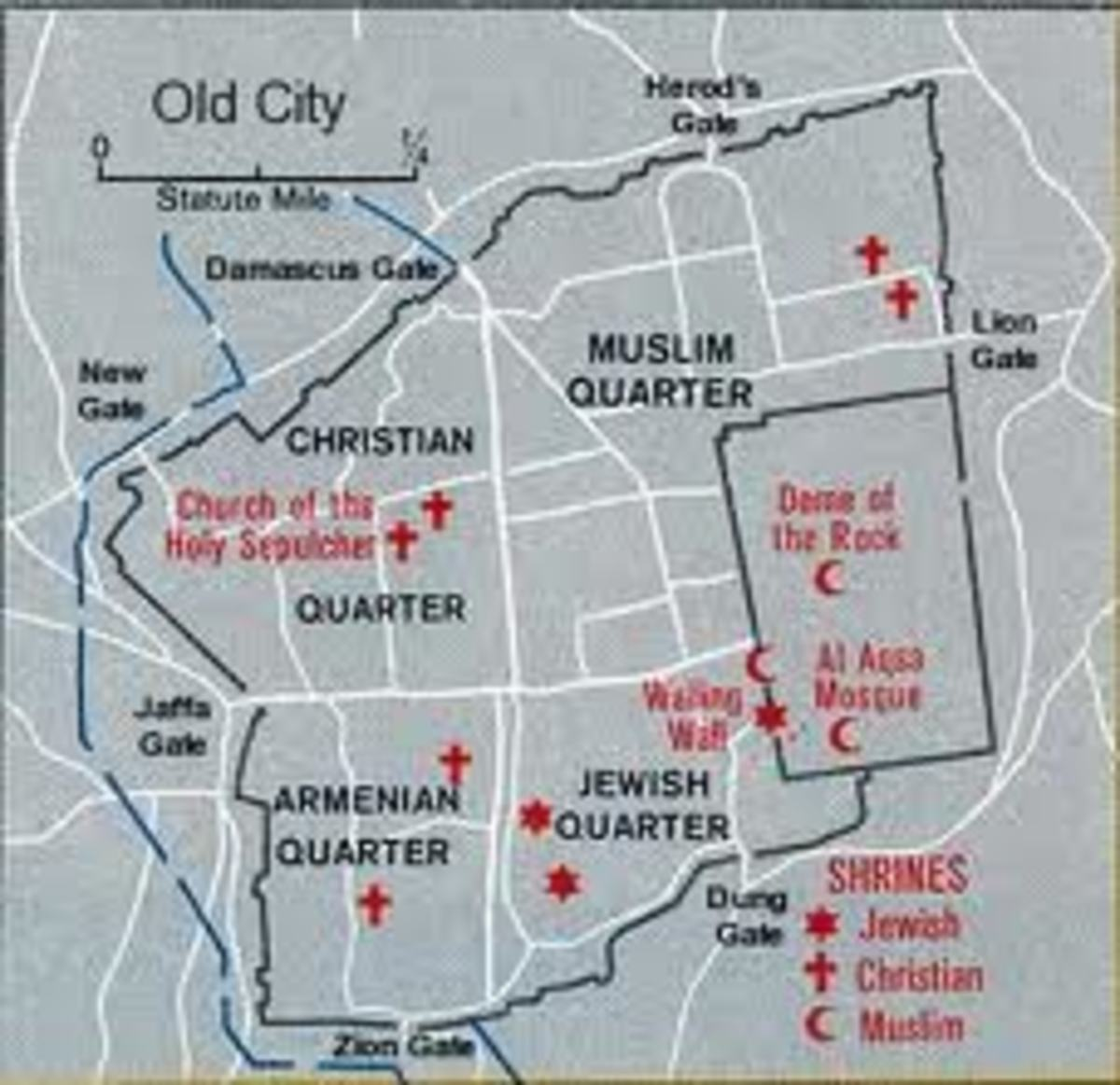 "Old Jerusalem is divided in to 4 quarters today among Muslims, Christians, Armenians and Jews. See the location of ""temple mount"" where ""Dome of the rock"" and ""Al Aqsa"" mosque situates."