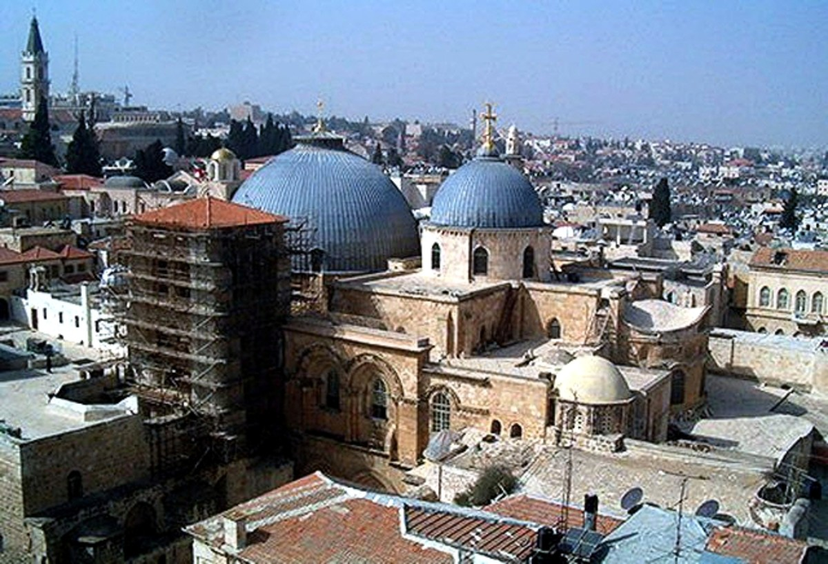 "Two domes of Holy Sepulcher Church. Large dome is above the Aedicule where tomb of Christ located and smaller dome is above the center point (transept crossing) of the Catholicon (Main church of the Holy sepulcher) where the ""Omphalos"" is placed."