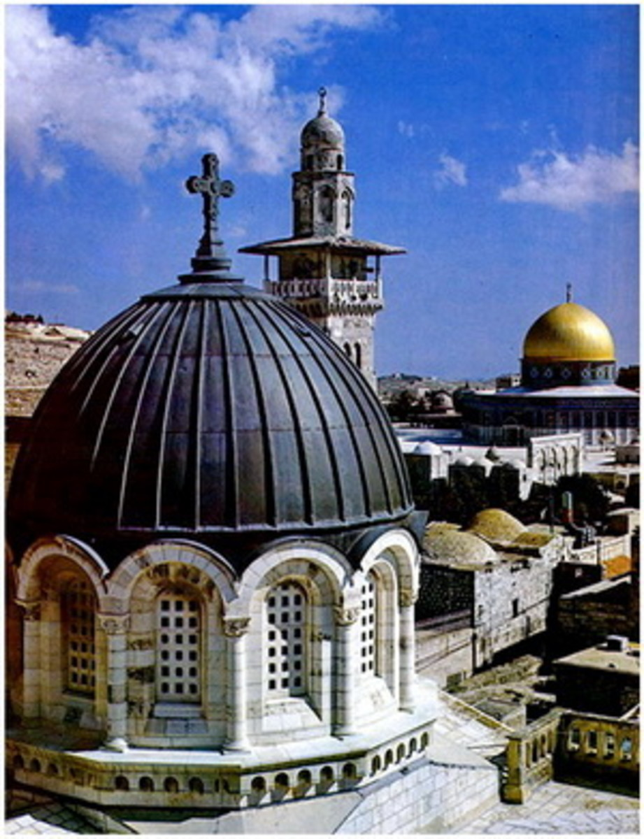 Condemnation church built where Antonio fortress existed.  You might as well notice the table of mount is so closely located identified by the Dome of the rock and minaret of Al Aqsa mosque