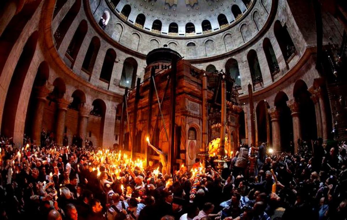 Holy fire is a ceremony in sepulcher church taking place on Holy Saturday, the day after Good Friday. Notice the Aedicule located inside the Rotunda right under the larger dome of Holy Sepulcher church.