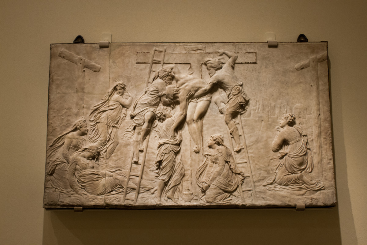 This early piece was created by a Christian artist as a way to show respect to God. It depicts Jesus' descent from the cross.