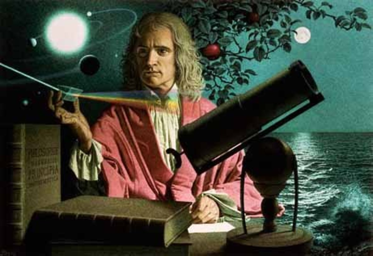 Isaac Newton using a prism to separate white light into its color components.