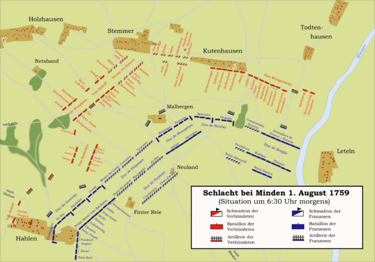 The battle of Minden was a rare example of a successful offensive attack by infantry (Britain) against cavalry (France).