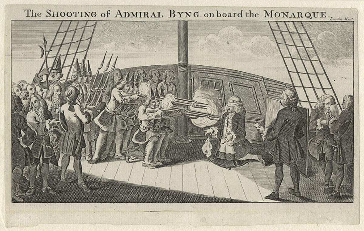 Admiral John Byng onboard HMS Monarch being executed for his failure to retain the island of Minorca.