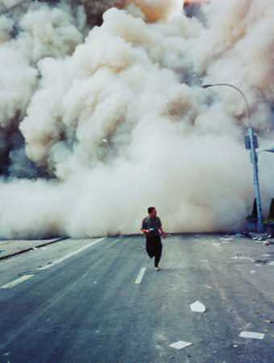 Trying to outrun the billowing debris