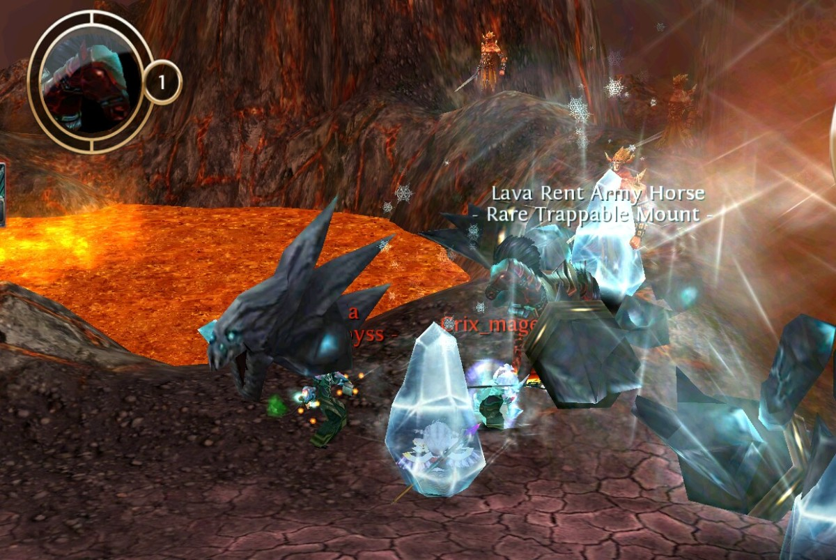 The Lava Rent Horse in Skinskaald rift. I know it's a little hard to see the mount. In this picture the mounts name is white because it was caught, not by me :(.