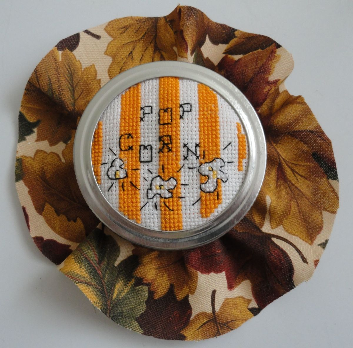 Popcorn Jar Lid Cross Stitch
