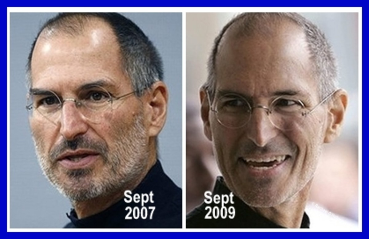 Comparing how Steve Jobs looked in September 2007 and September 2009. Photo has been altered with adding a frame