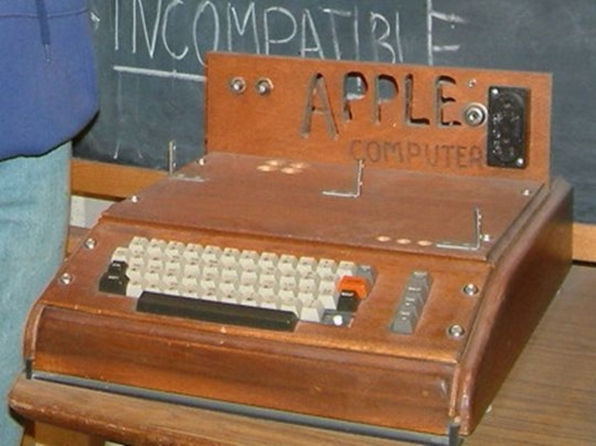 The first Apple Computer - an assembled circuit board, lacking monitor.  This unit is on display at the Smithsonian Museum.