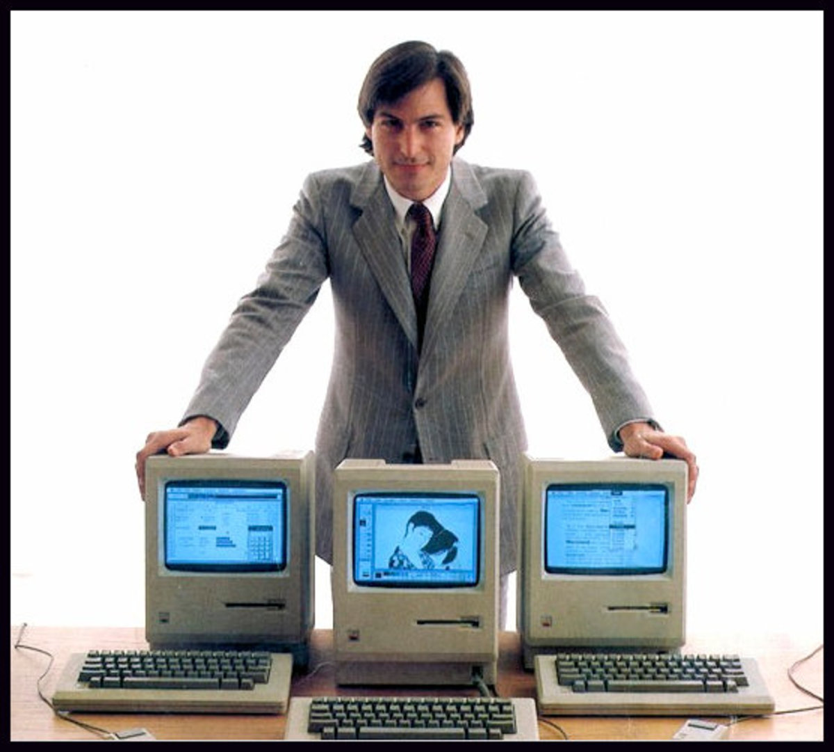 Steve Jobs with Macintosh in 1984. The Mac had a high price tag and low sales.