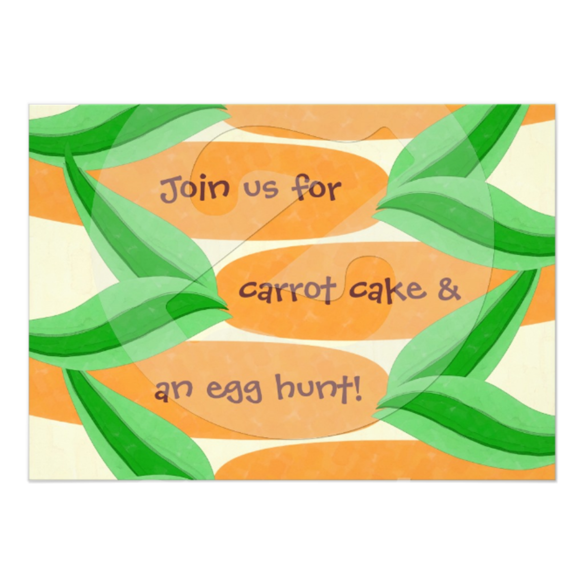 Custom Carrot Cake and an Egg Hunt Easter Invitation available on many paper types.   Made in 24 hours.