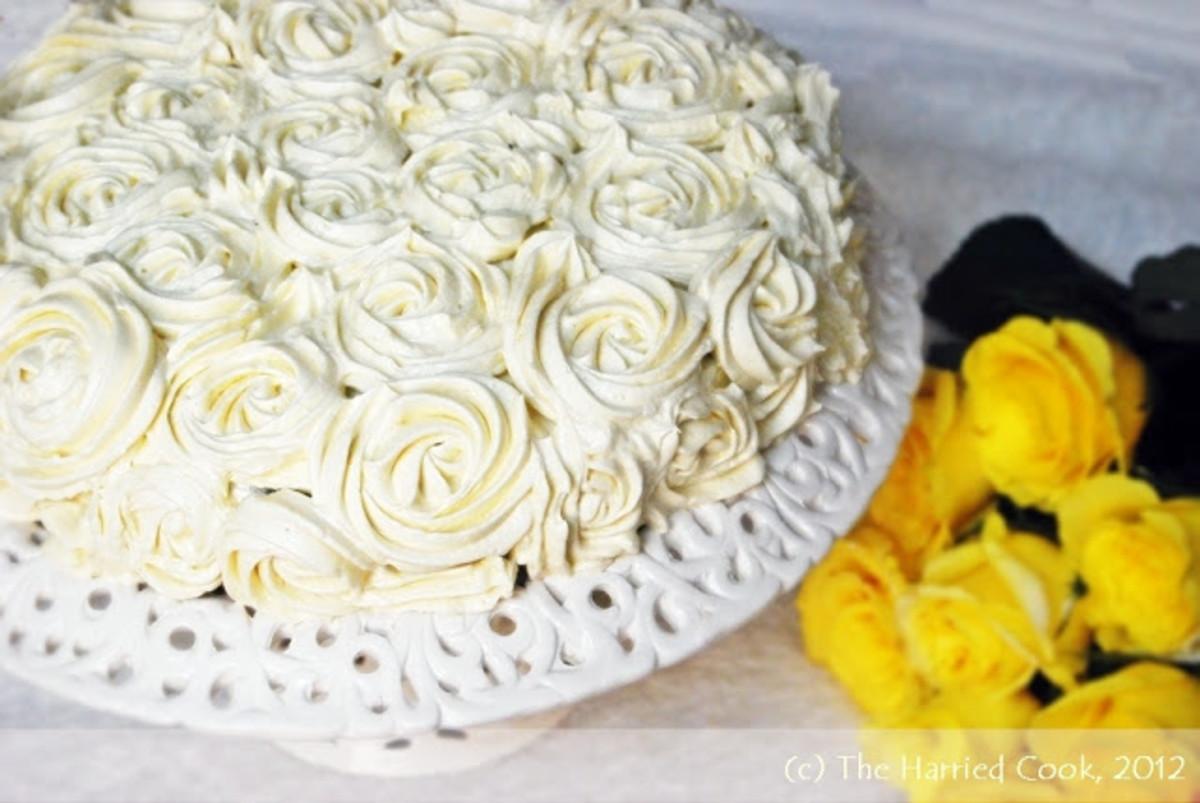 Elegant cream cheese roses.