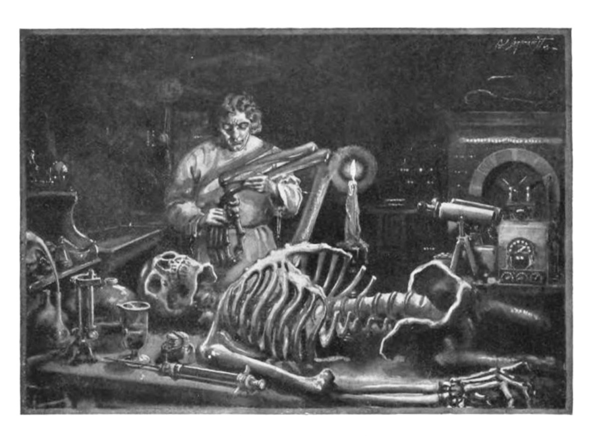 """Illustration for """"Mary Shelley's Frankenstein,"""" Cornhill Publishing Company, 1922 – """"Frankenstein at work in his laboratory."""""""