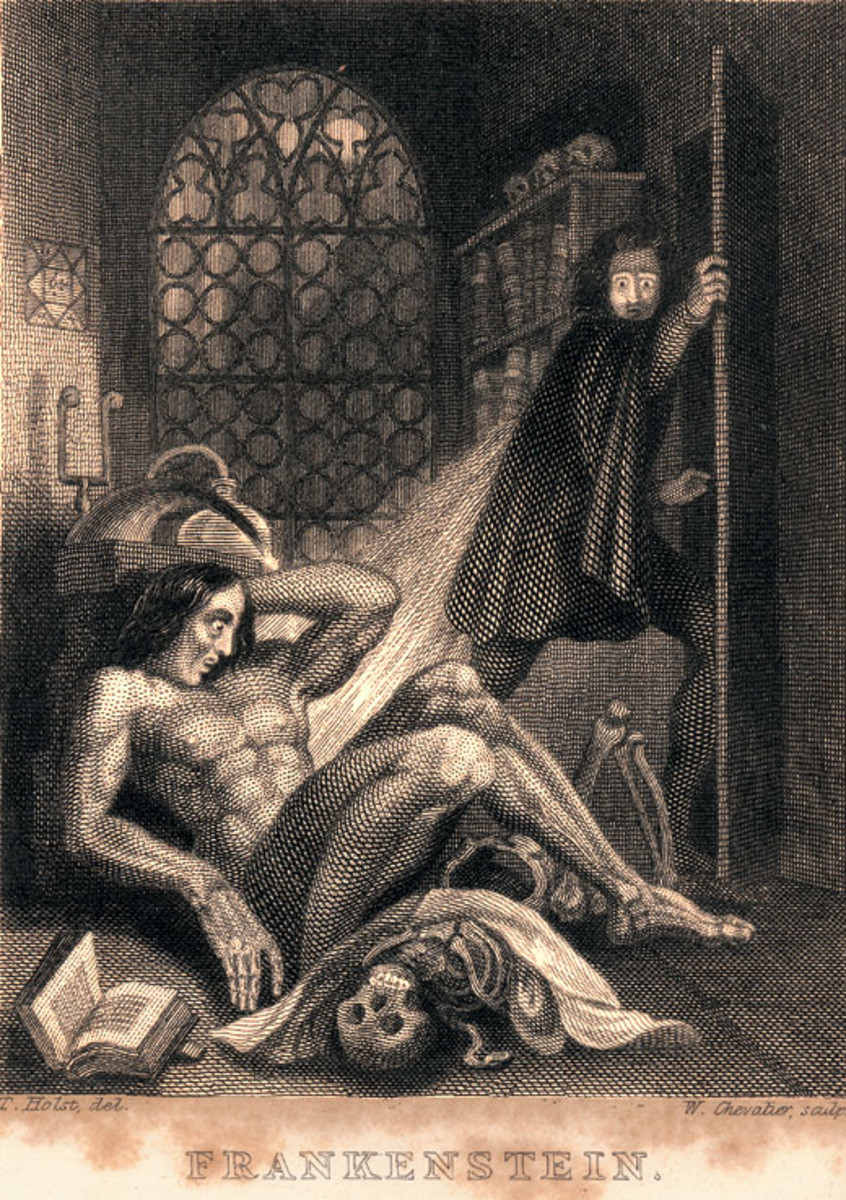 """Illustration to Mary Shelley's """"Frankenstein,"""" published by Colburn and Bentley, London 1831 – steel engraving in book, 93 x 71 mm"""