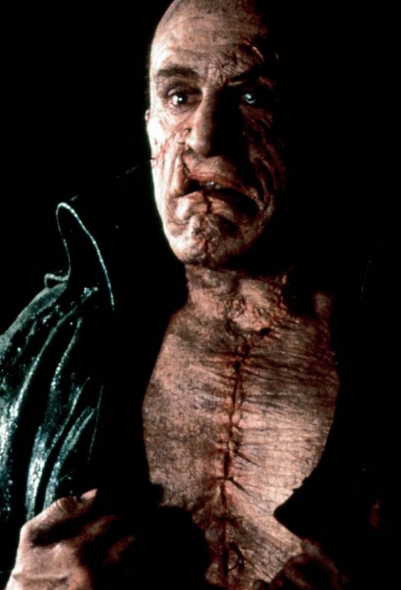 "Robert De Niro as Frankenstein's monster in the 1994 movie adaptation of Mary Shelley's ""Frankenstein."""