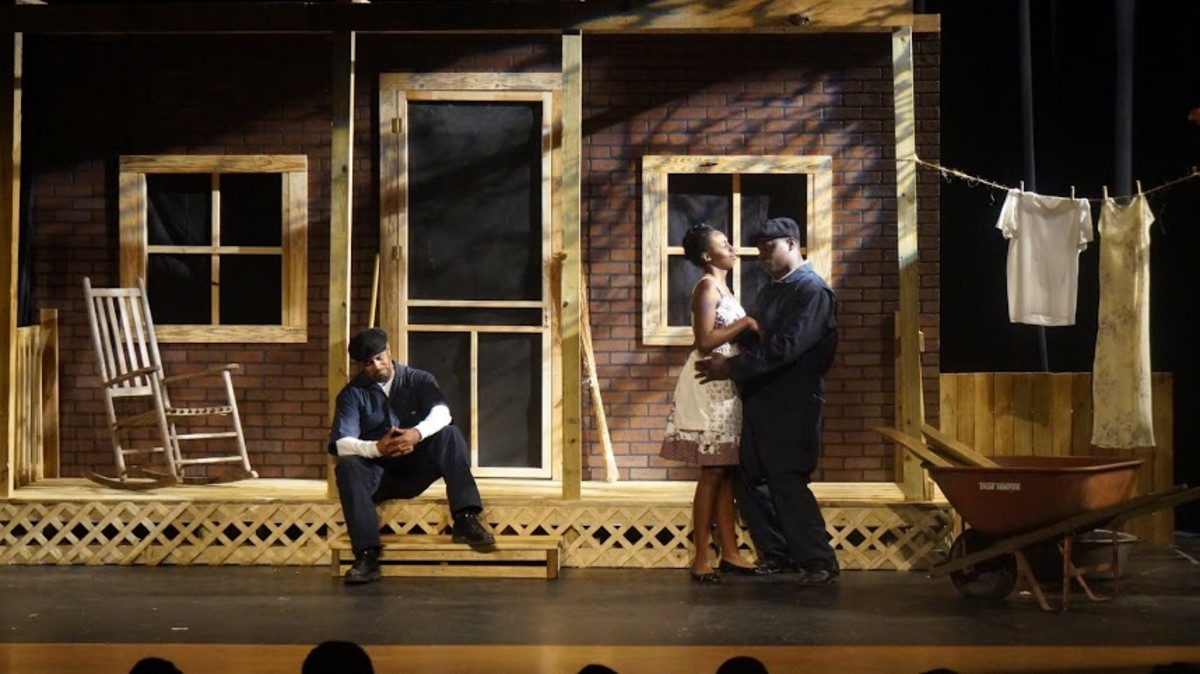 "Troy Bland in a dramatic scene from the stage play, ""Fences"""