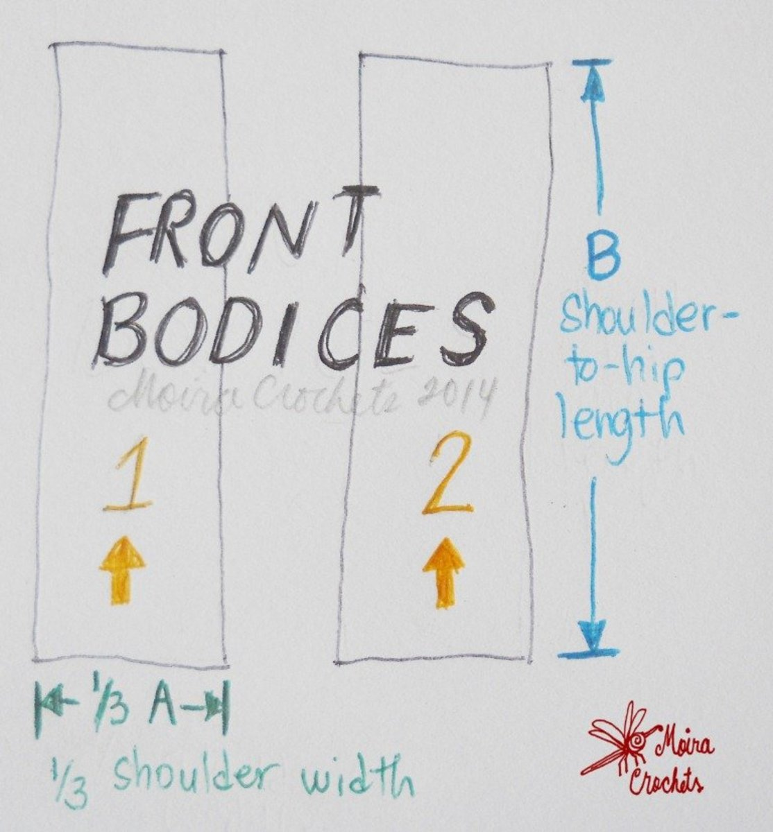 Length and width of front bodice - it's just a rectangle