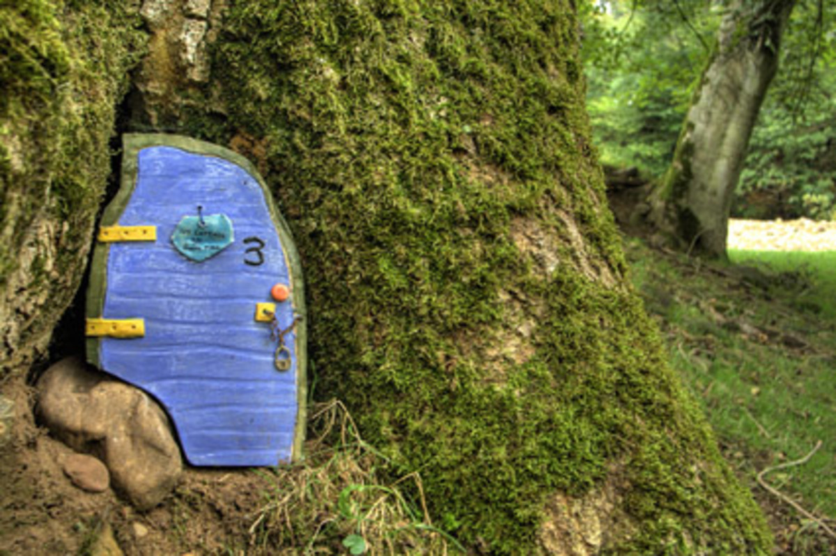 Fairy door at the Fairy Row, near Gelt Wood, Cumbria. Photo by Alan Cleaver, used with permission.