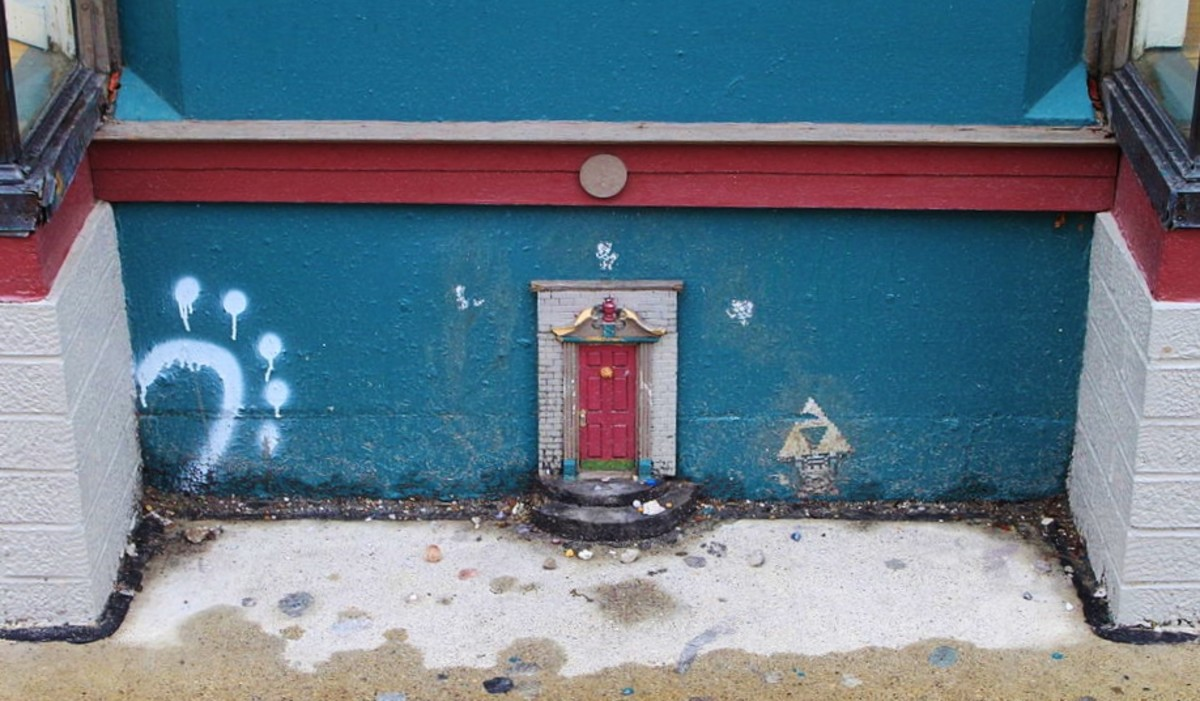 Another photo of the Ann Arbor fairy doors. Photo by Dwight Burdette on Wikimedia Commons.