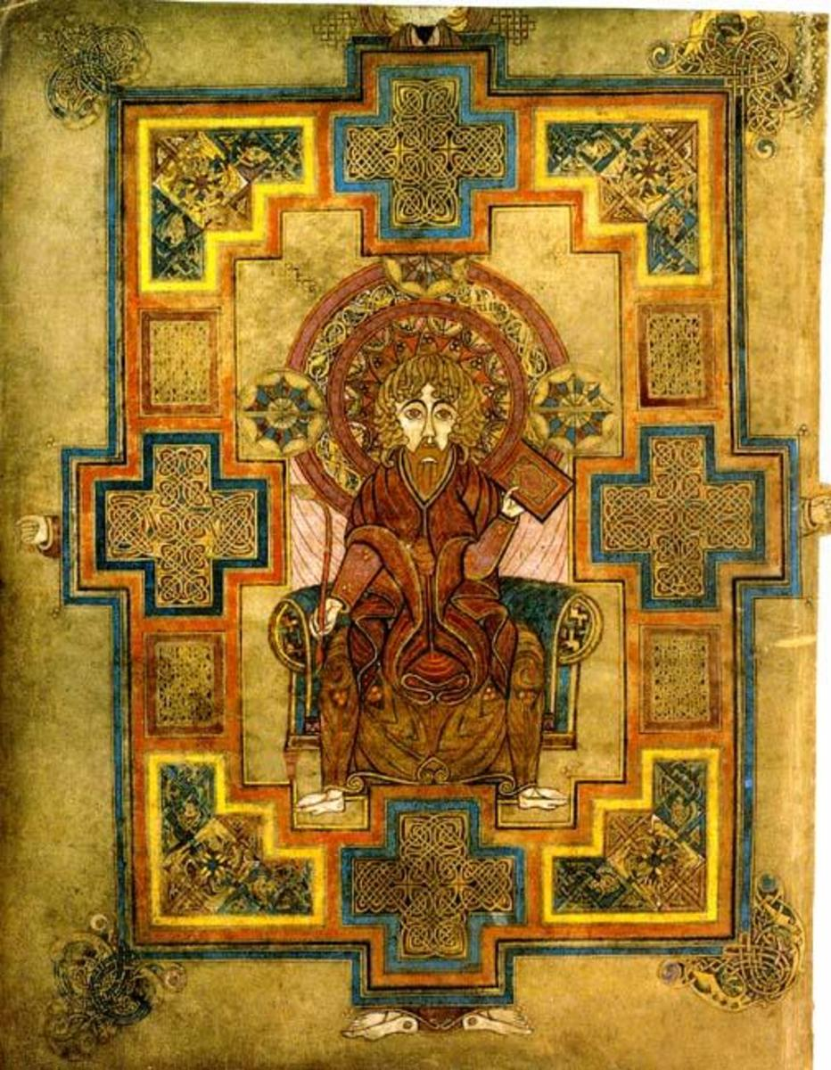Folio 29lv.  John, the Evangelist.  Notice the intricate Celtic knots inside the crosses.