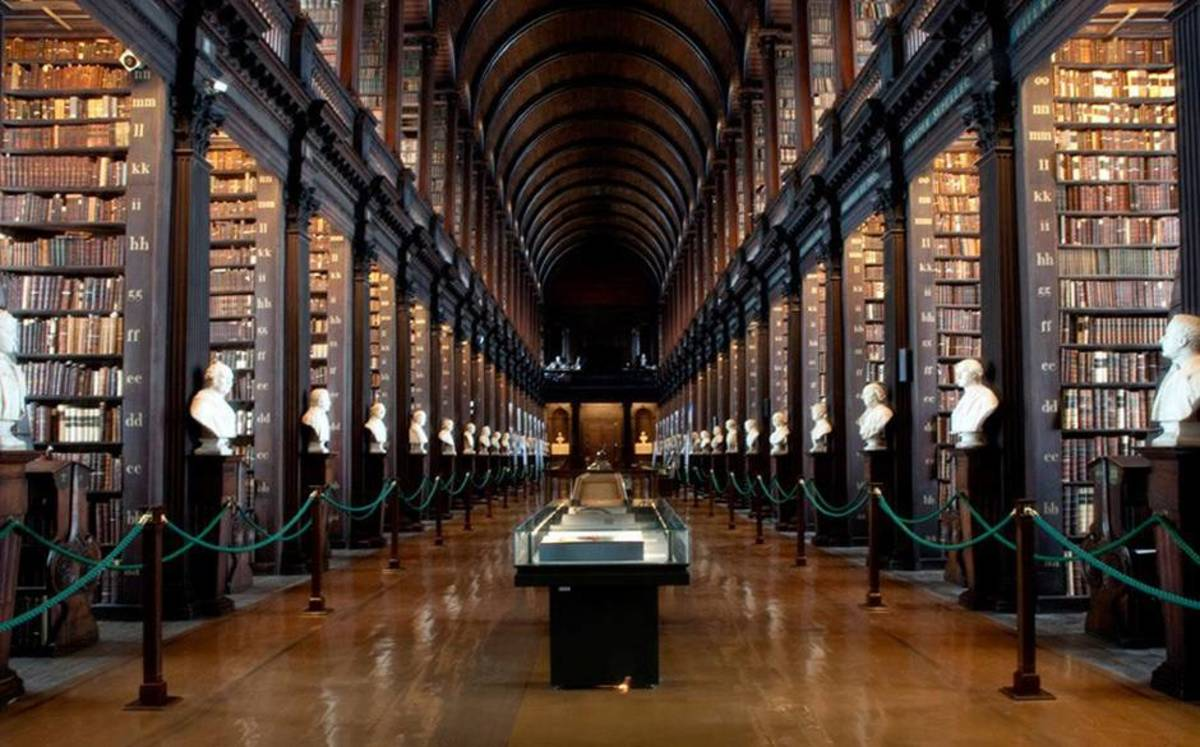 Old Library, Trinity College Dublin, Ireland where the Book of Kells has been housed for viewing since 1661.