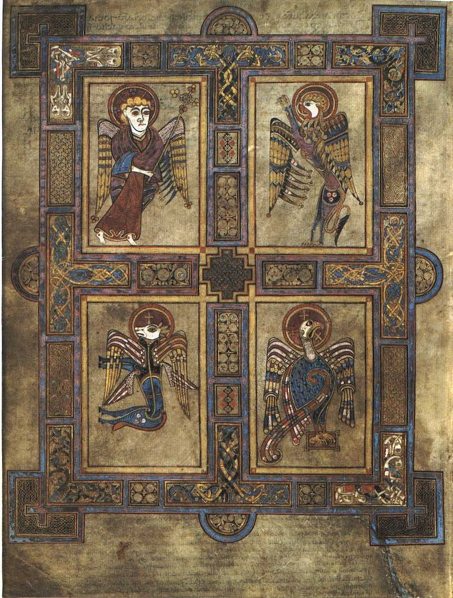 Folio 27v .  Symbols of four Evangelists (clockwise from top left)  Matthew (man), Mark (lion), John (eagle) and Luke (ox).