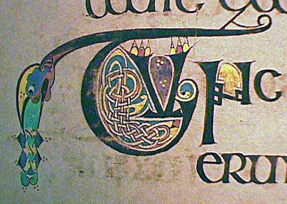 Small illuminations like this decorated initial decorated with intricate Celtic knots.