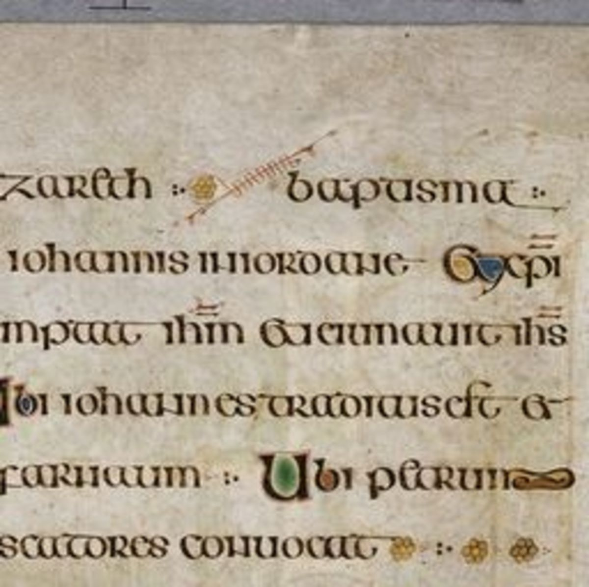Page of text with illuminated letters at beginning of sentences and interlinear art.