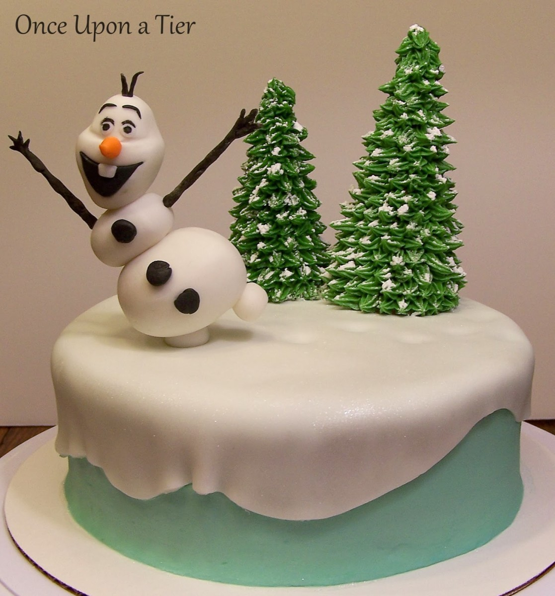 Fun Olaf Birthday Cake with Edible Trees