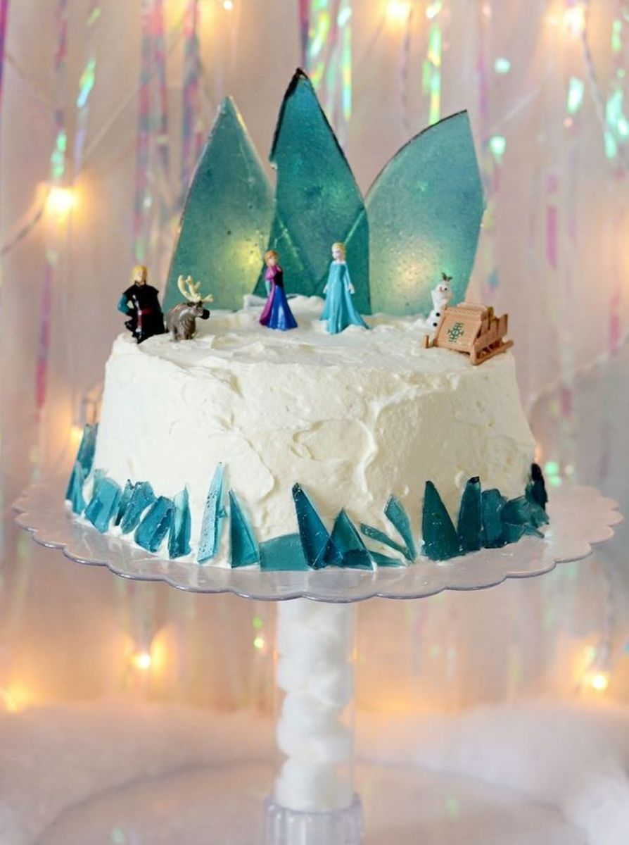 A frozen birthday cake with the beautiful ice palace