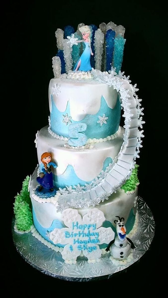 Frozen themed birthday cake showcasing Elsas power