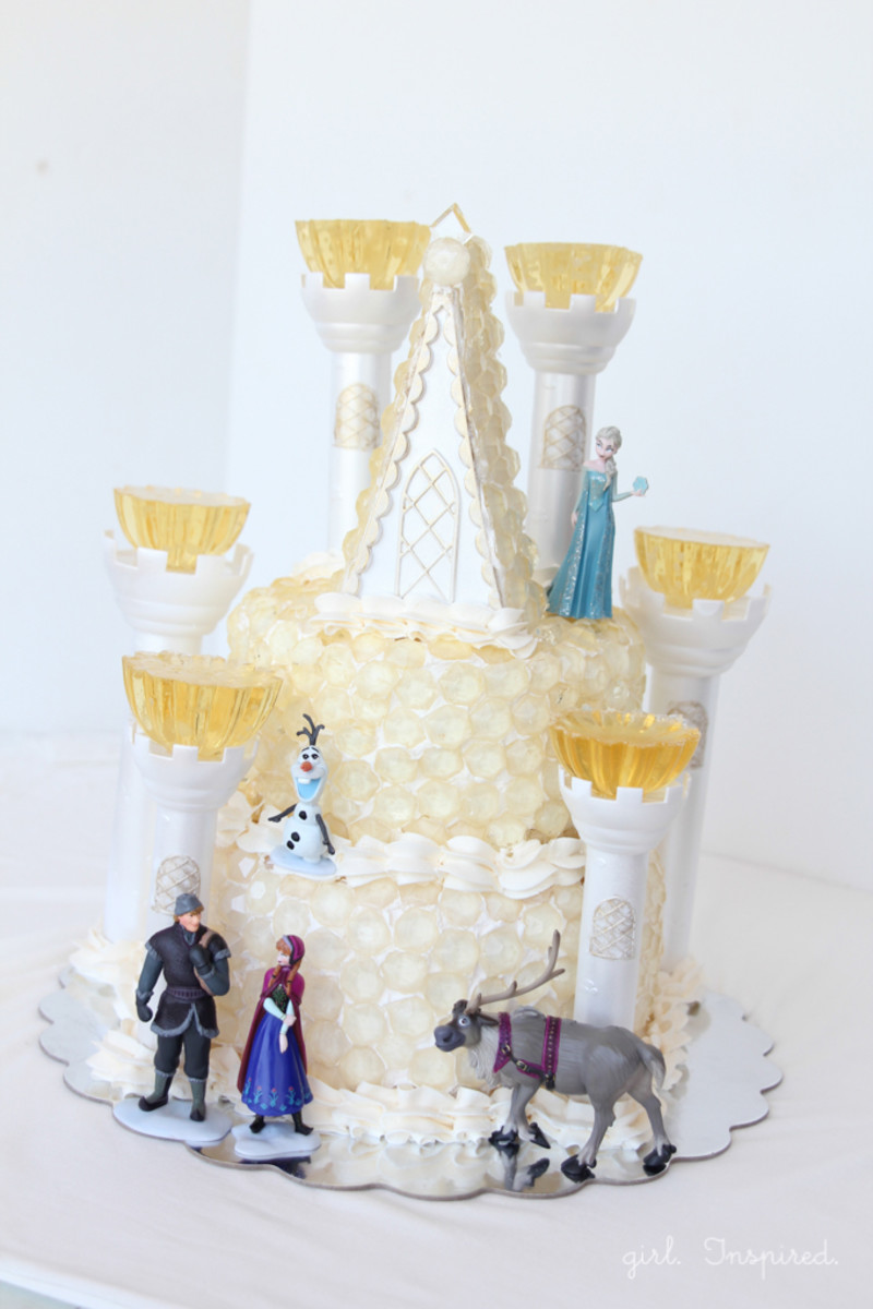Frozen ice castle birthday cake with hard candy jewels