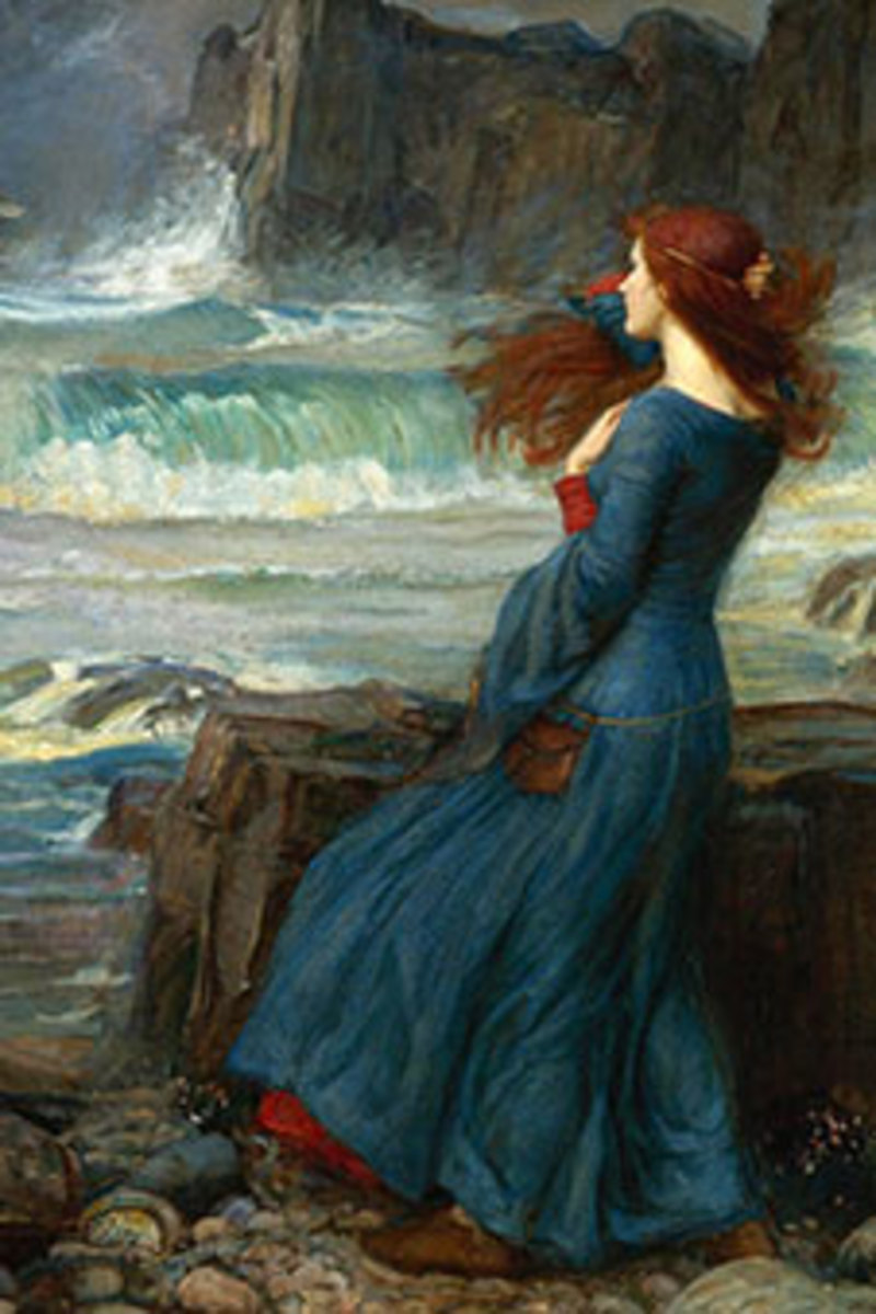Miranda looks out on the sea at the tempest her father has created.