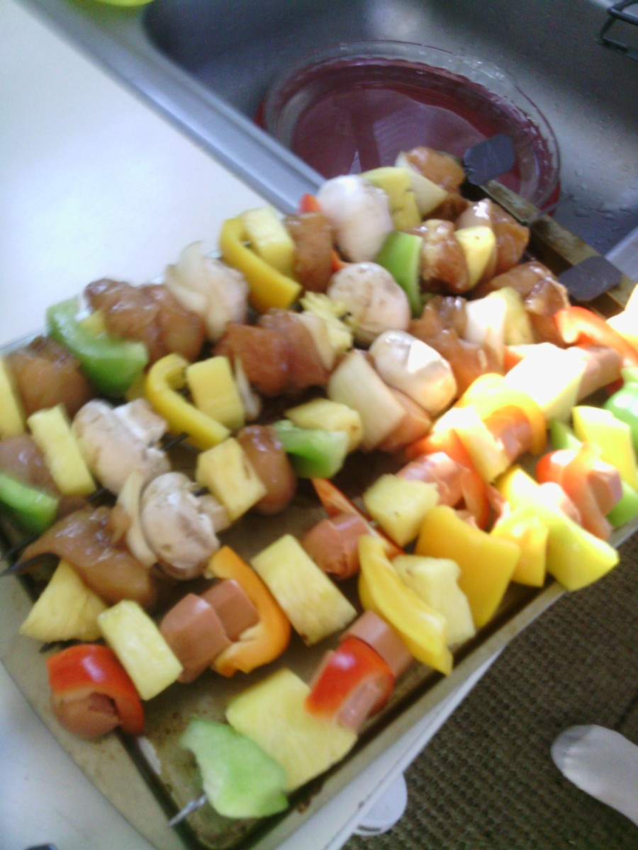 Chicken and my sons hot dog shish kebabs, even though hot dogs are not traditional it was a good way to get my son involved in cooking and eating his own meal.