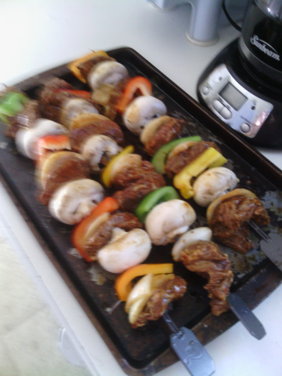 This photo was of my personal beef shish kebabs made by me.