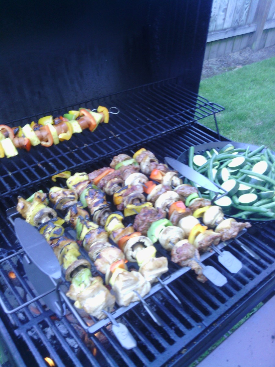 My photo was taken of my beef and chicken shish kebabs along with a side of grilled green beans and zucchini squash.