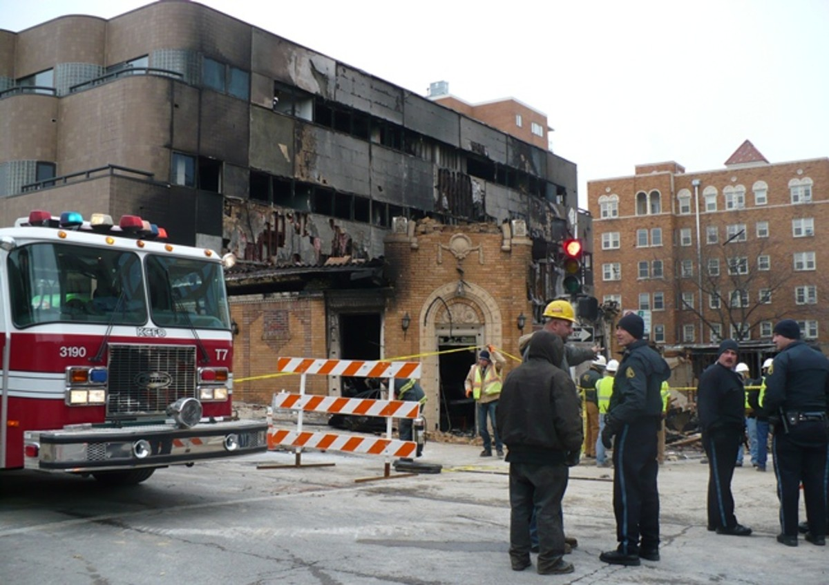 Kansas City Police and Fire Investigators Outside JJ's Restaurant After The February 19th, 2013 Explosion-Fire.