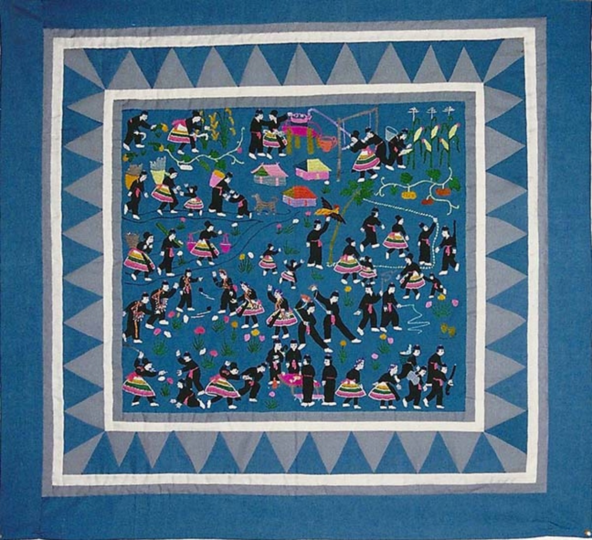 Photo of another smaller story quilt taken at the home of a friend named Ka.