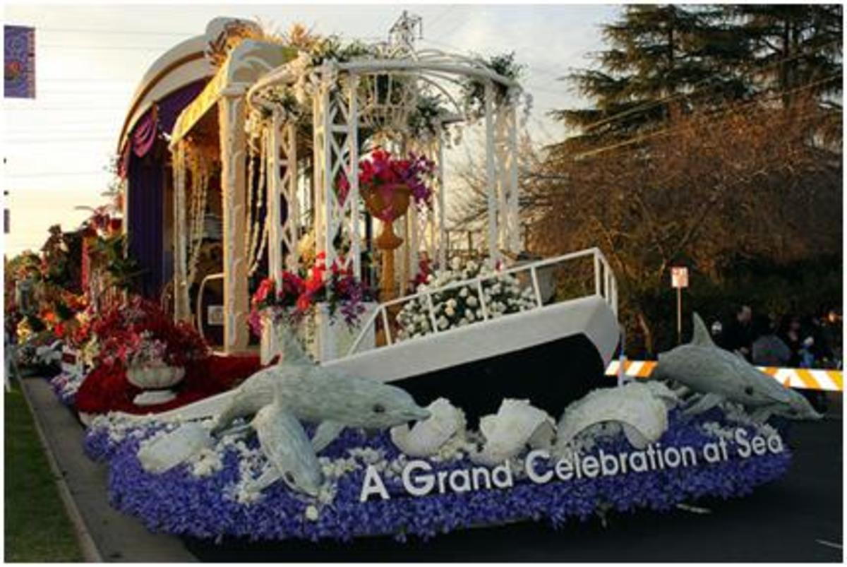 Floating in the Tournament of Roses Parade
