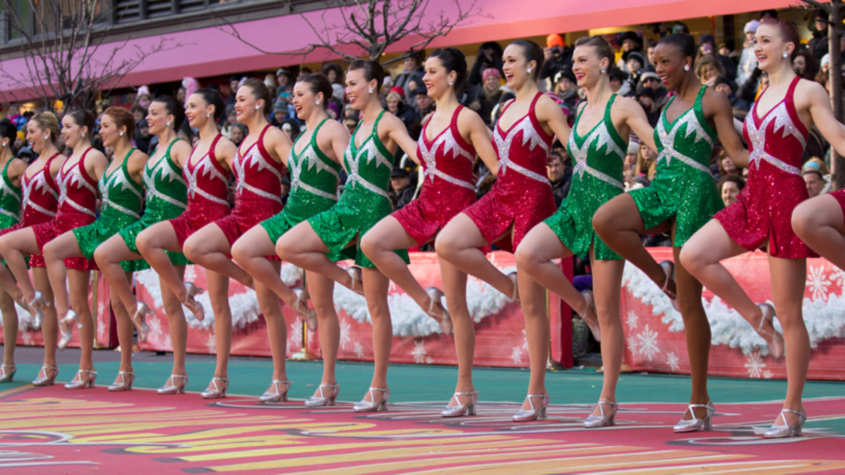 New York City's world-famous Rockettes ... Up,  and ...