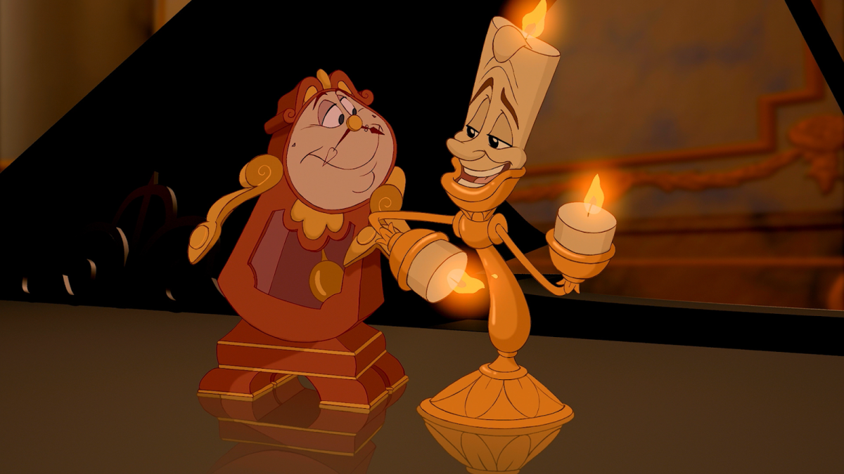 """Lumiere (right) is my favorite character from """"Beauty and the Beast.""""  This image is from the Disney adaption of the tale."""