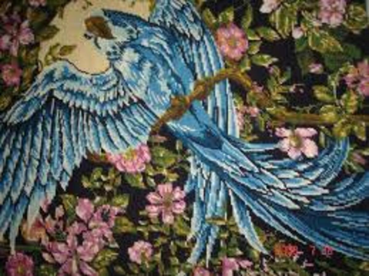 """L'oiseau bleue, or """"The Blue Bird"""" one of the many fairy tales by Madame d'Aulnoy."""