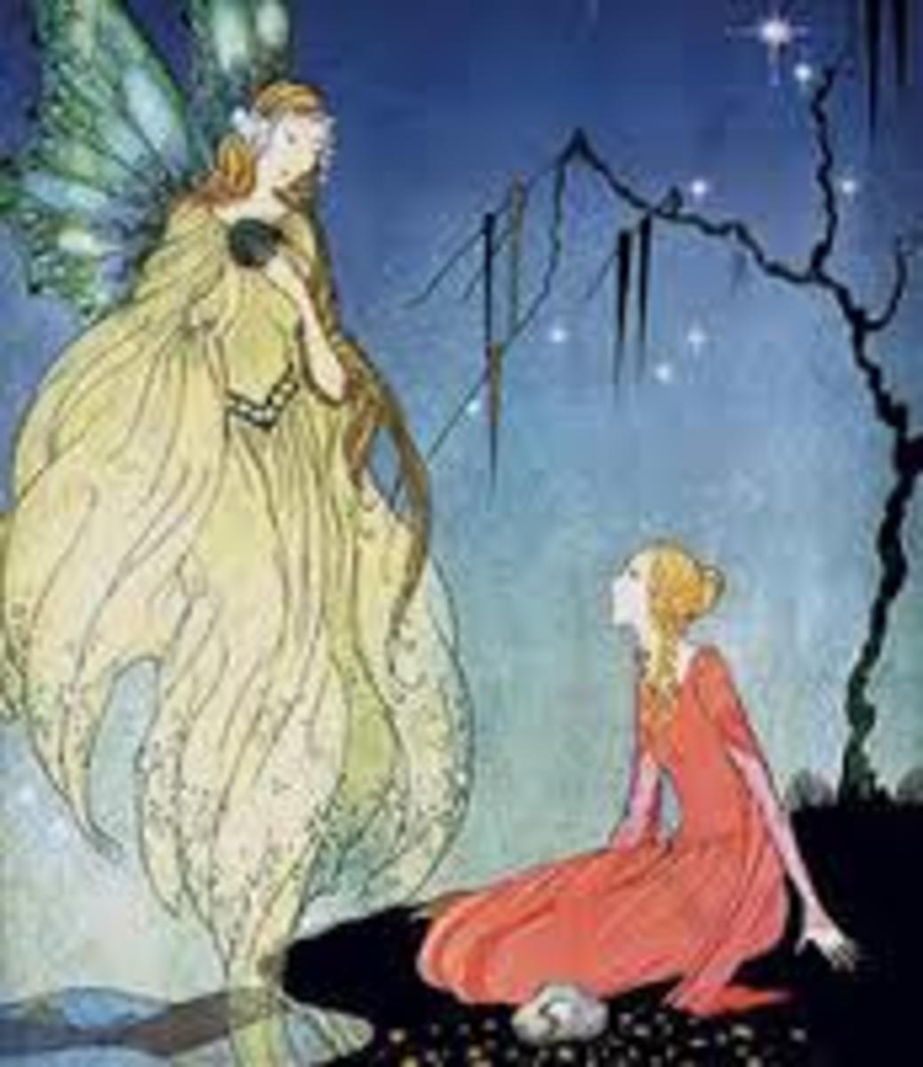 """Princess Rossette and her fairy godmother, from """"Rosette"""" by Madame d'Aulnoy."""