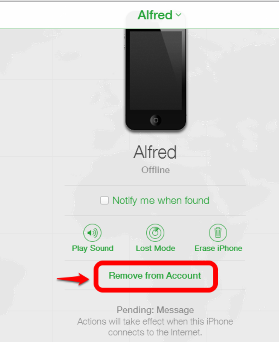 Click Remove to disassociate an Apple device from an Apple ID