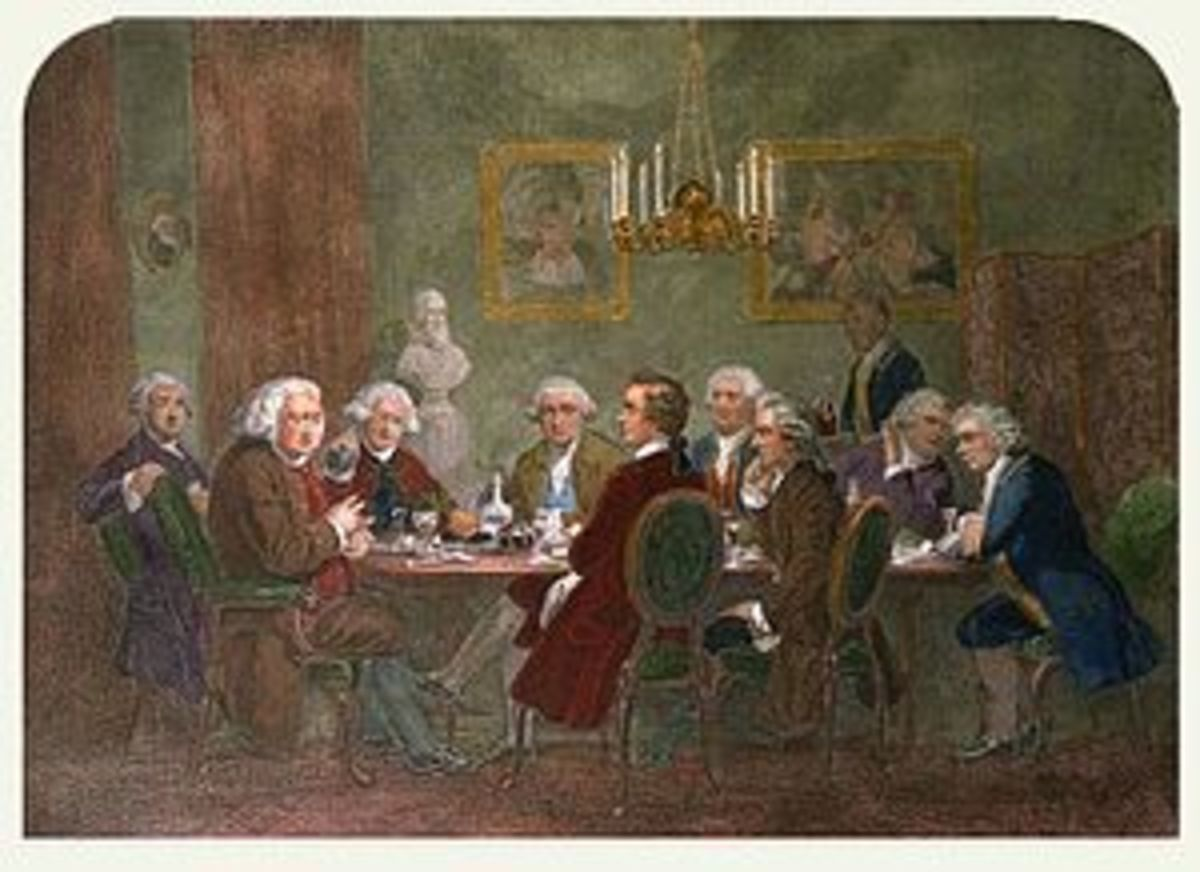 "A literary party, 1781, of Johnson (second from left) and other members of ""The Club""."