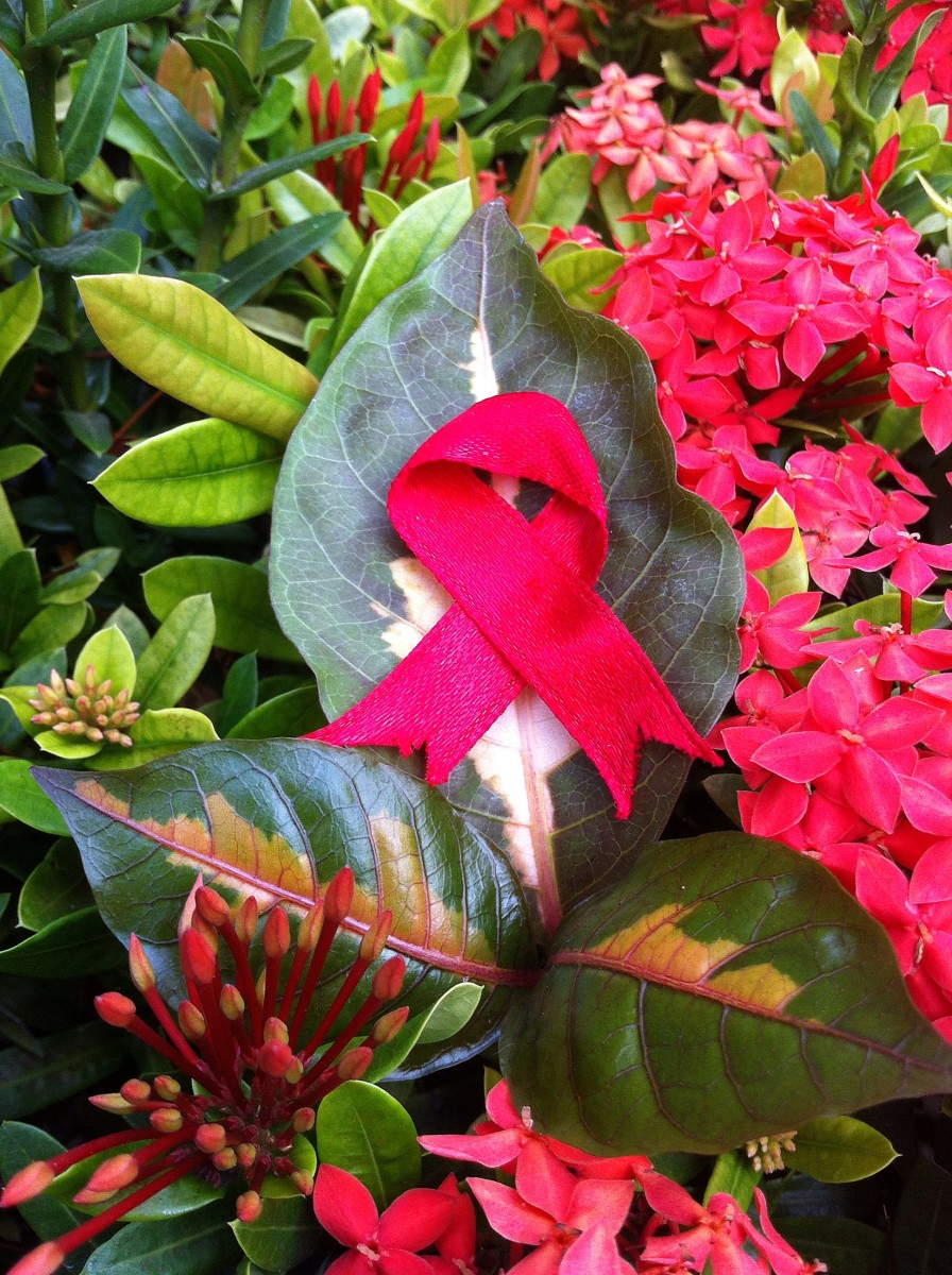 Green leaf beneath red ribbon represents renewed health