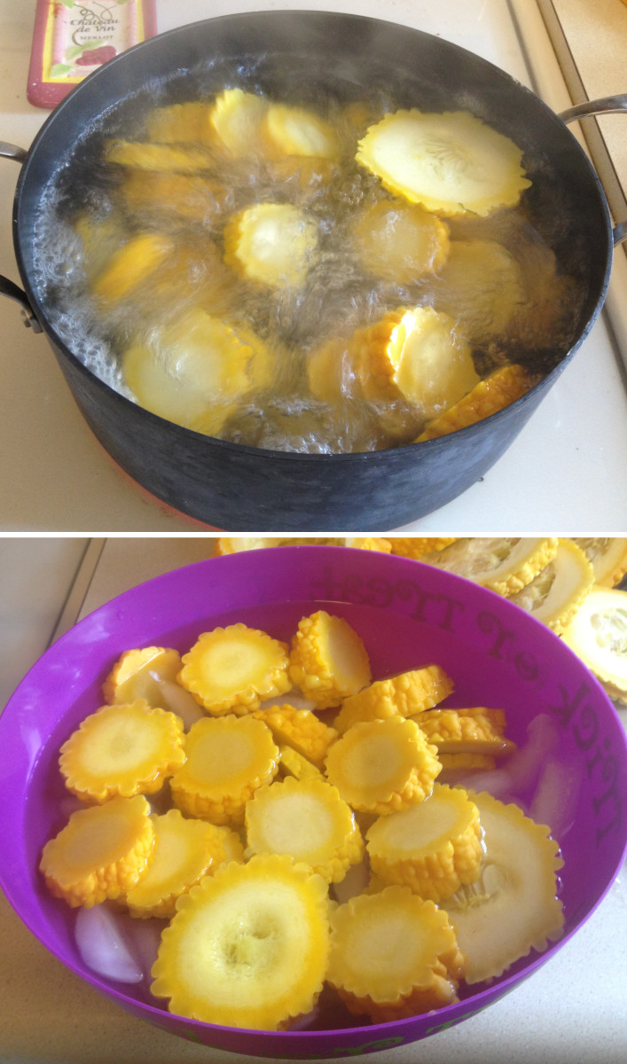 Blanching and Cooling Squash