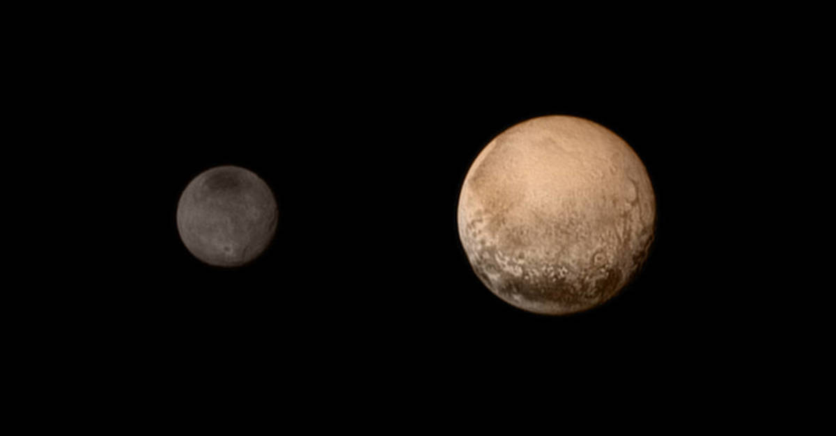 The New Horizon Spacecraft's July 11 portrait Pluto and its large moon Charon. They're not actually this close together; this is 2 photos side by side.