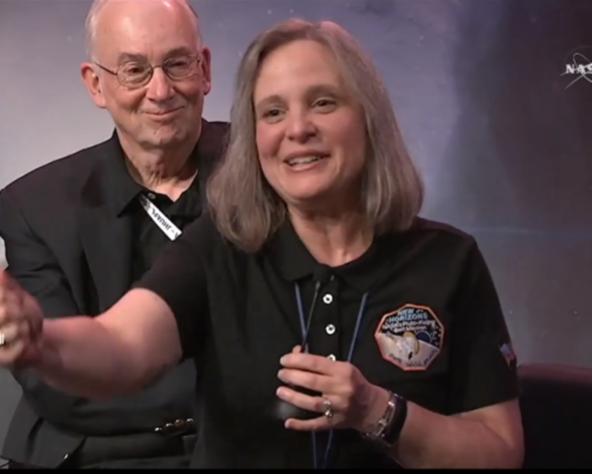 —A very tired Alice Bowman. Screengrab from July 14 6:30PM press conference announcing that New Horizons called home to say it's on schedule and working fine.